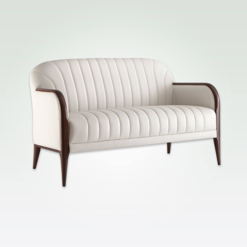 Miami modern white sofa with decorative deep stitching and show wood to the arm rests 8026 SF1