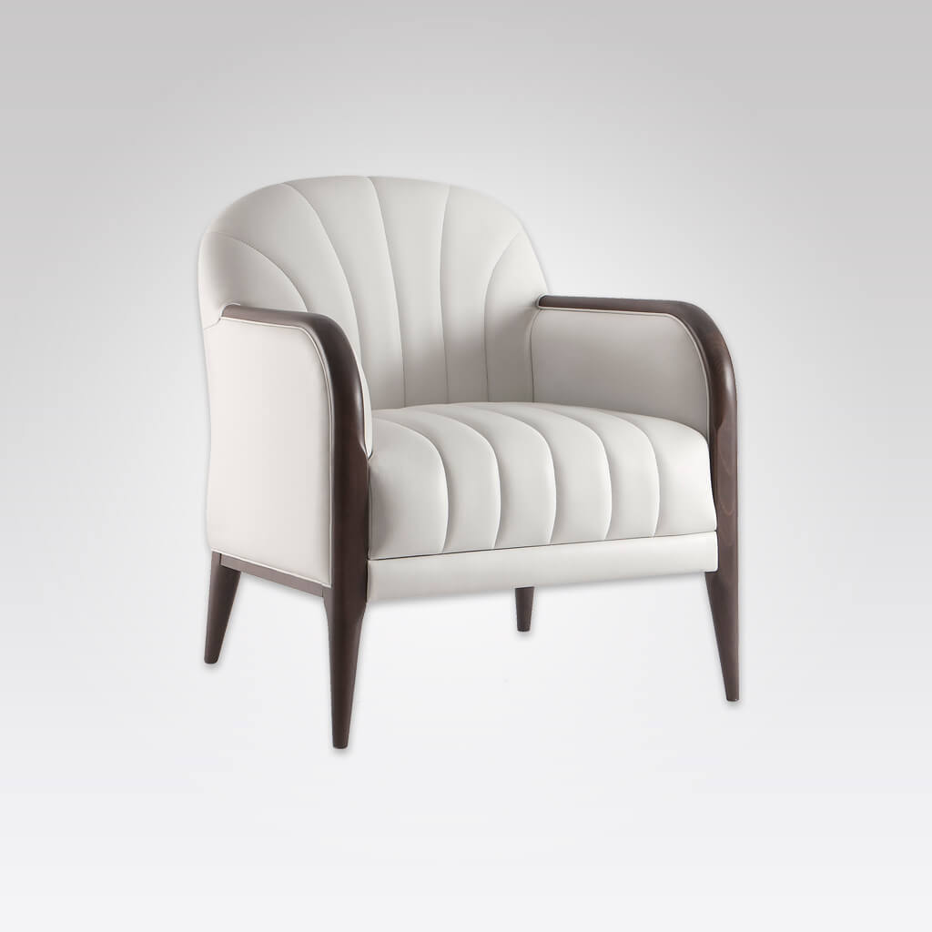 Miami White Leather Armchair with Show Wood Arms Tapered Timber Legs and Upholstery Fluting 1055 LC1