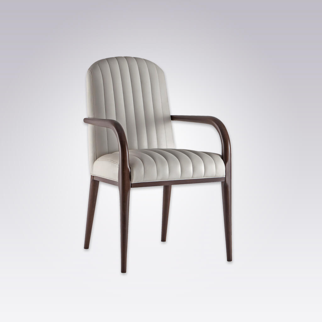 Miami Fluted Monochrome Armchair with Show Wood Arms and Legs 4036 AC1