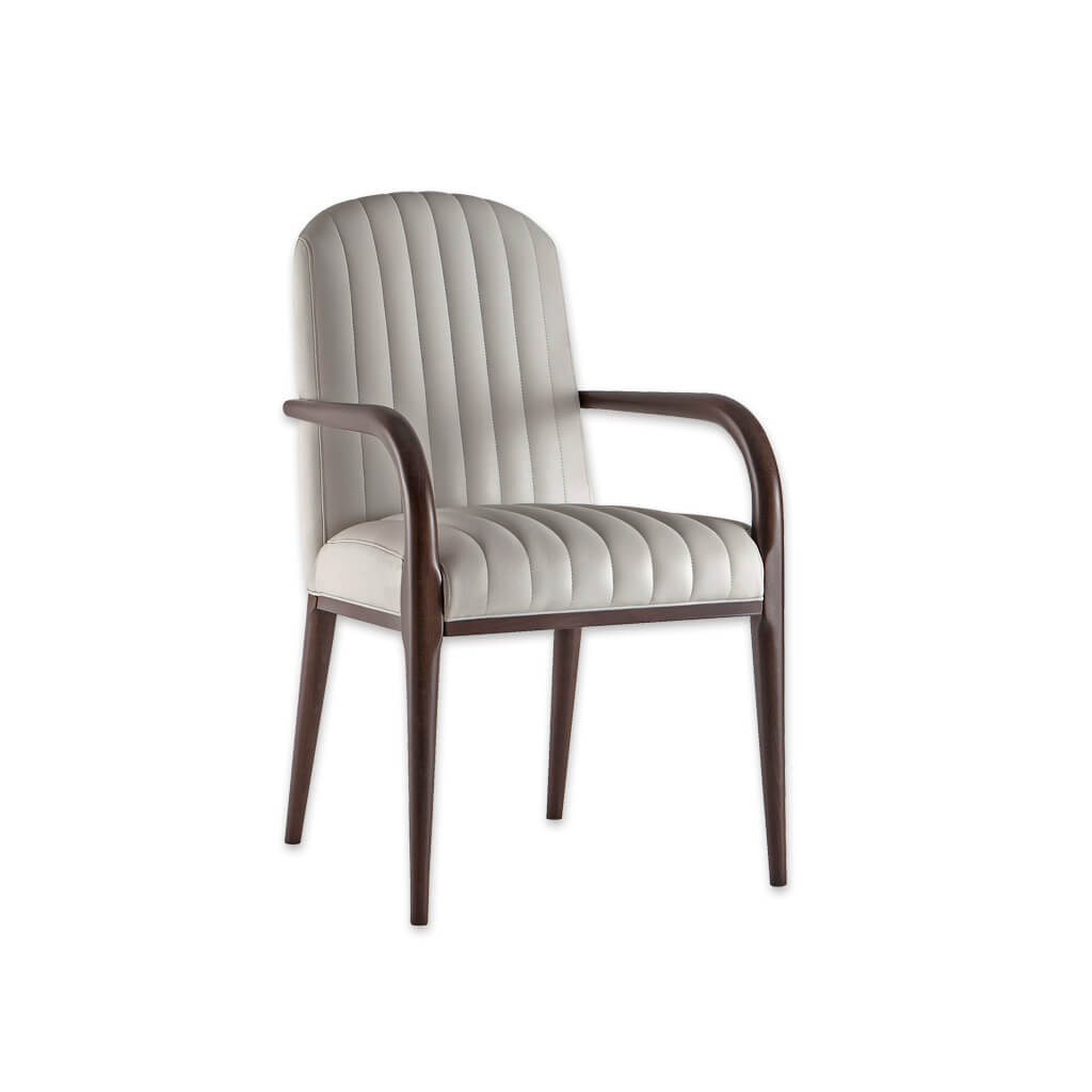 Miami Fluted Monochrome Armchair with Show Wood Arms and Legs 4036 AC1 - Designers Image