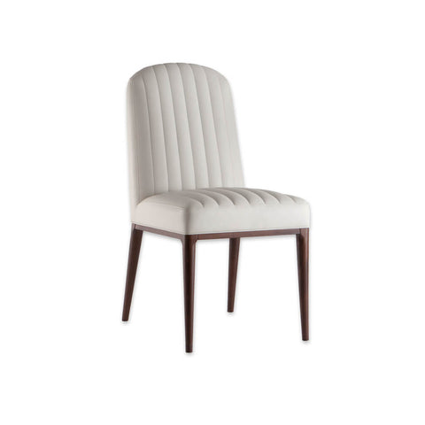 Miami White Dining Chair With Wooden legs and Fluted Back and Padded Seat 3066 RC1