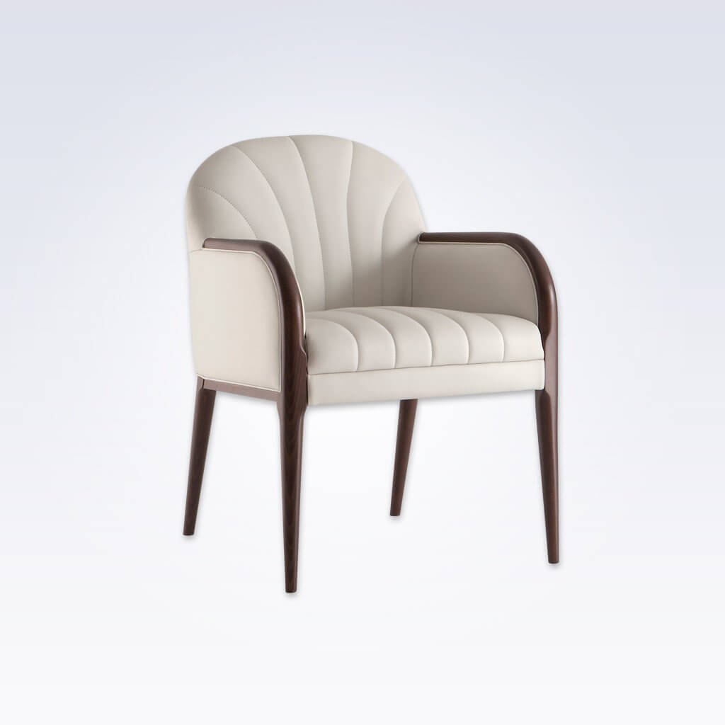 Miami Light Leather Tub Chair With Fluted Backrest and Seatpad with Show Wood Detail 2049 TC1