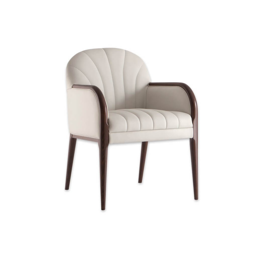 Miami Light Leather Tub Chair With Fluted Backrest and Seatpad with Show Wood Detail 2049 TC1 - Designers Image