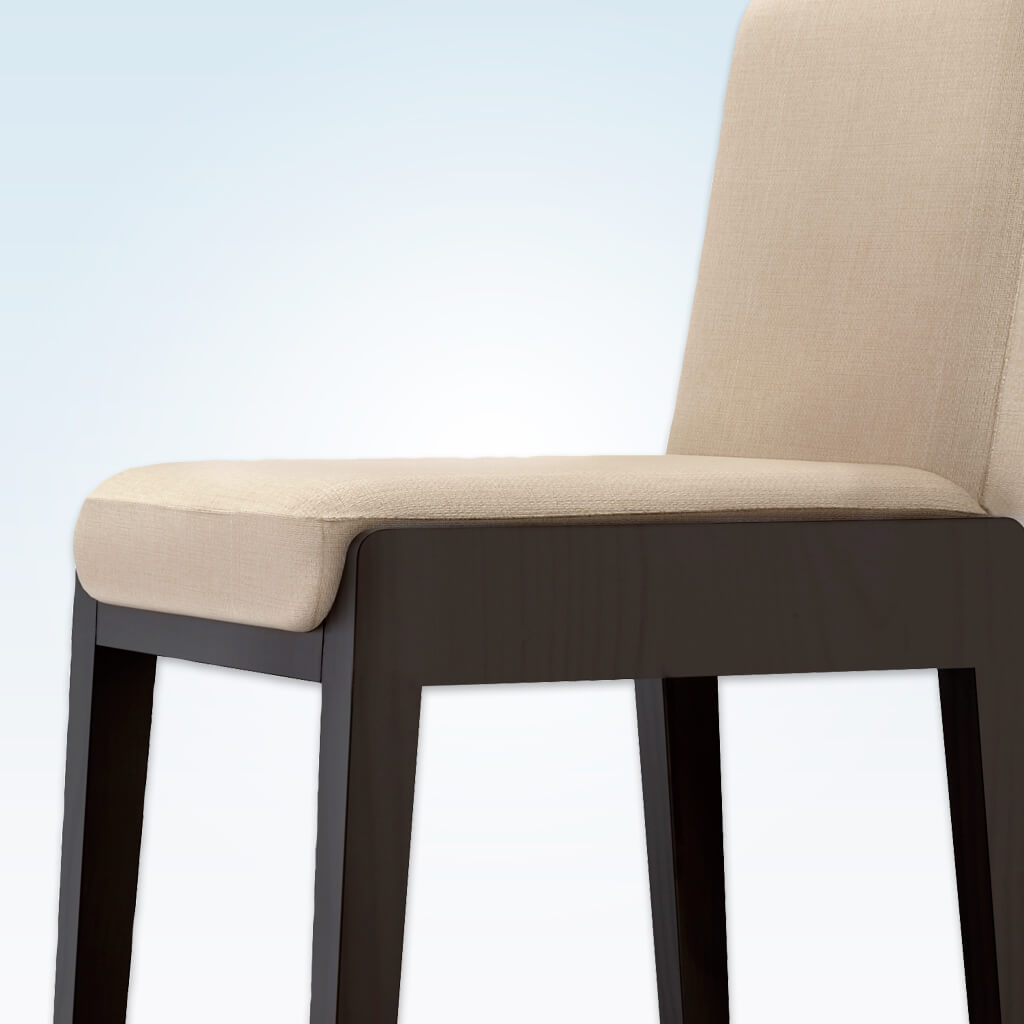 Mika cream bar chairs with padded seat and back and dark wood plinth and legs 6021 BR1 - Detail