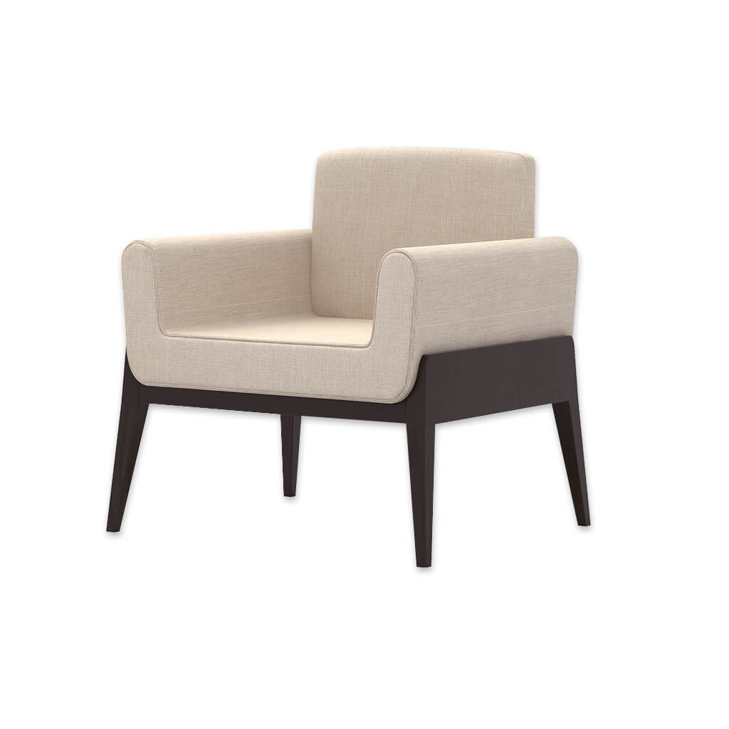 Mika Fully Upholstered Cream Lounge Chair with Show Wood Timber Base Frame 1035 LC1 - Designers Image