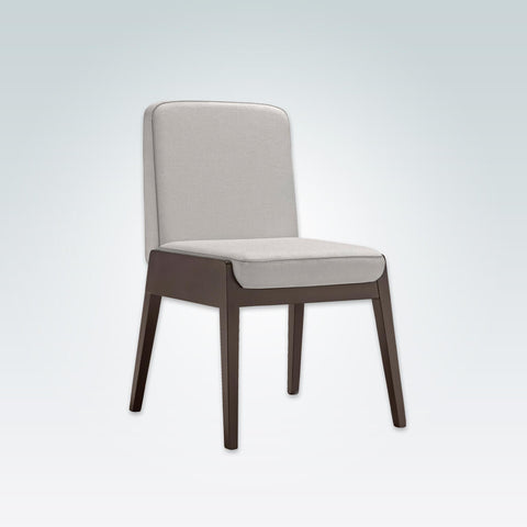 Mika Cream Leather Dining Chair with Show Wood Edging Detail and Upholstered Seat 3044 RC1