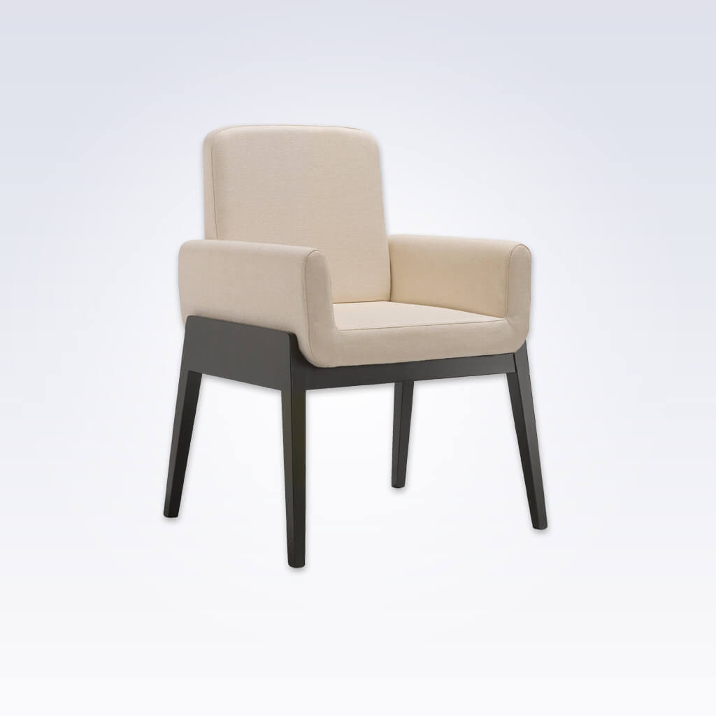 Mika Cream Tub Chair With Enroaching Armrests and Show Wood Detail 2033 TC1