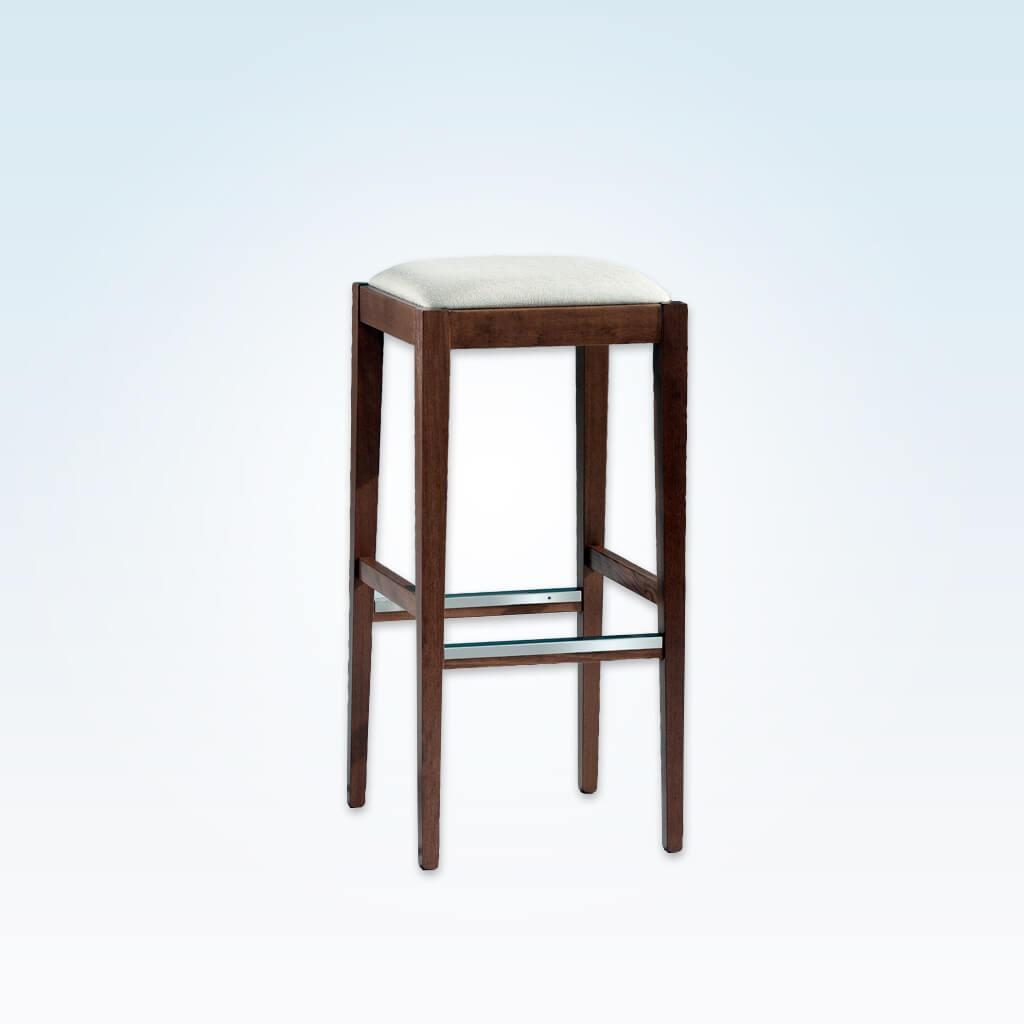 Mirna brown backless bar stools with cushioned seat and metal trim to the kick plate 6054 BR1