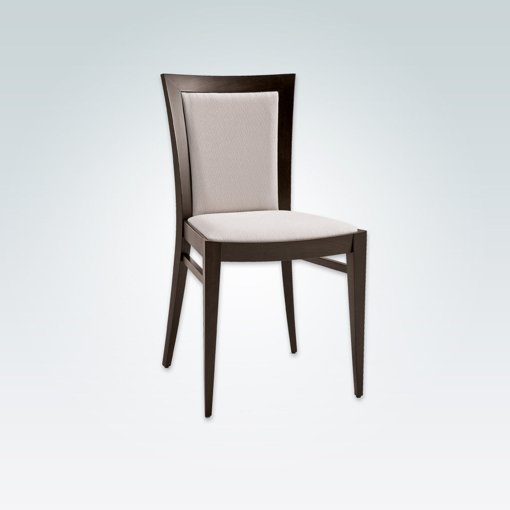 Miro Fully Upholstered White Dining Chair with Dark Wood Legs and Show Wood Surround 3057 RC1