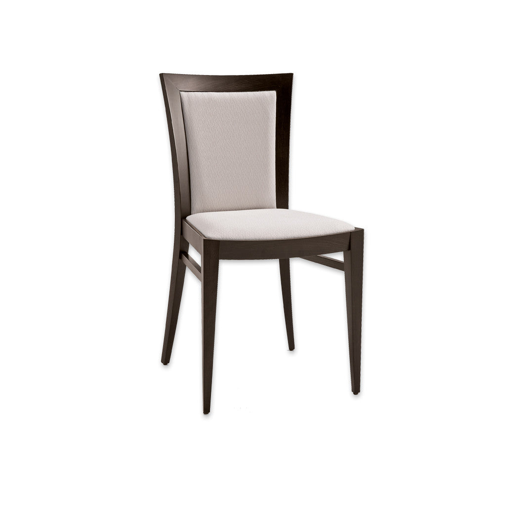 Miro Fully Upholstered White Dining Chair with Dark Wood Legs and Show Wood Surround 3057 RC1- Designers Image