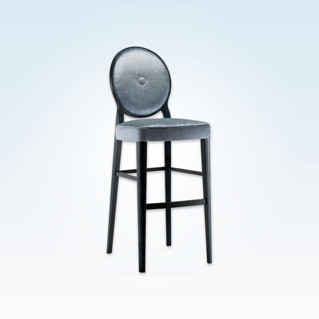 Monet silver velvet bar stools with round back and decorative button to the centre 6045 BR1