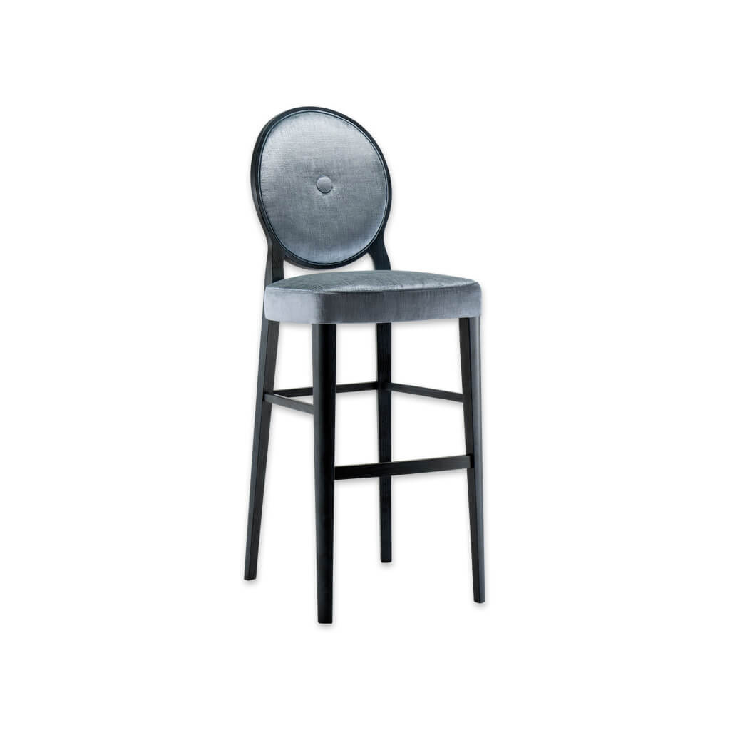 Monet silver velvet bar stools with round back and decorative button to the centre 6045 BR1 - Designers Image