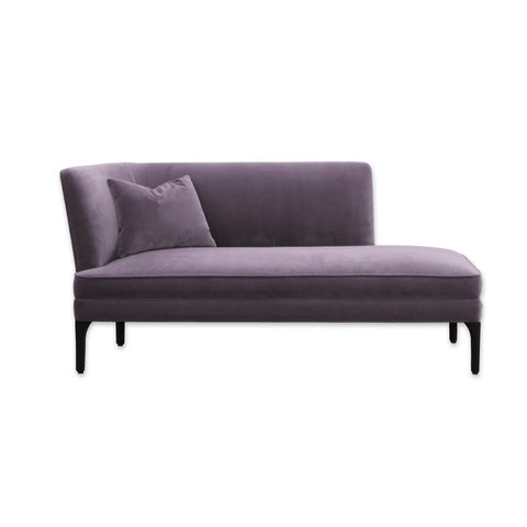 Munia purple velvet chaise longue with angular backrest and shapely timber legs 14002 CL1