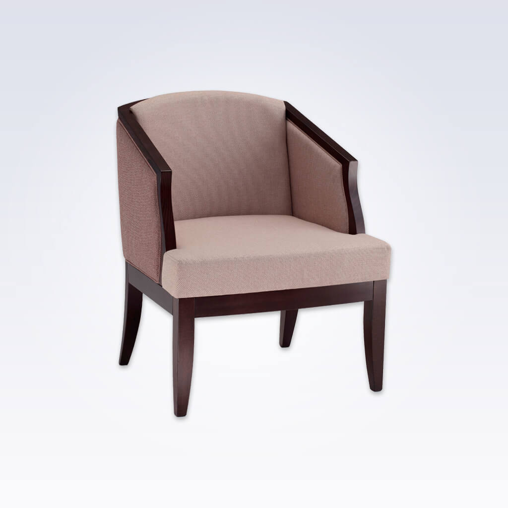 Naima Pink Tub Chair With Showwood and Curved Tapered Legs 2044 TC1