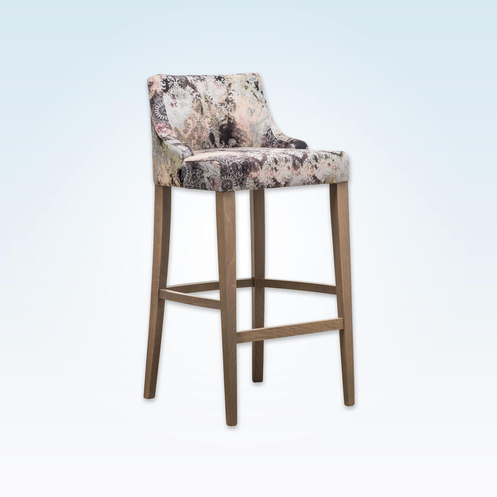 Nancy floral bar stools with curved back and timber legs SG01 BR2
