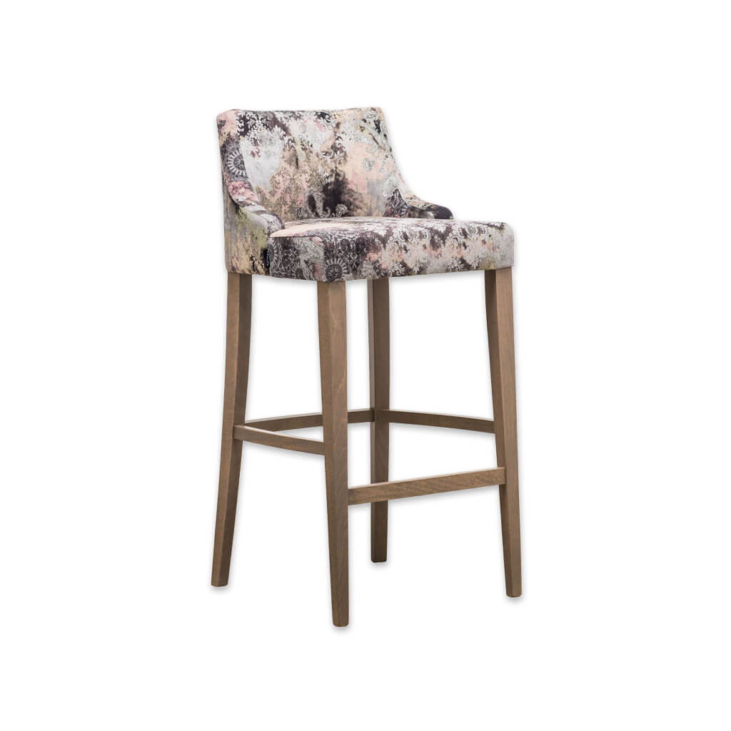 Nancy floral bar stools with curved back and timber legs SG01 BR2 - Designers Image