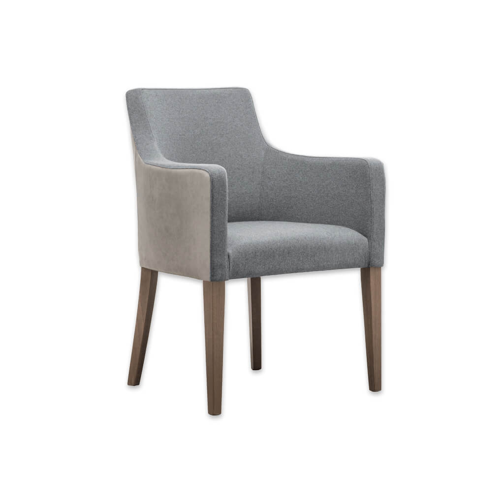 Nancy Upholstered Light Grey Tub Chair With Curved Armrests and Timber Legs PO01 TC1 - Designers Image