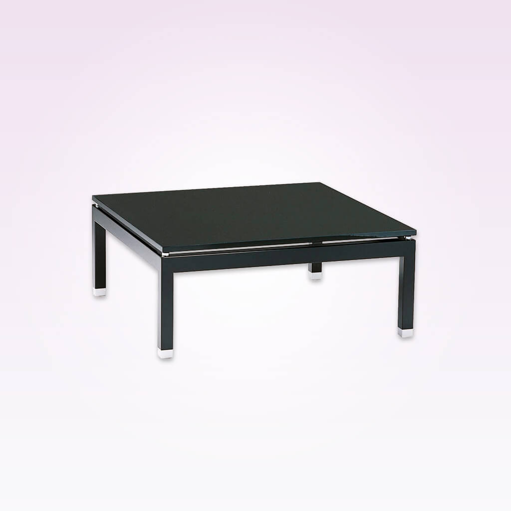 Navia large square modern dining table with high gloss finish raised top and inset detail. 1131