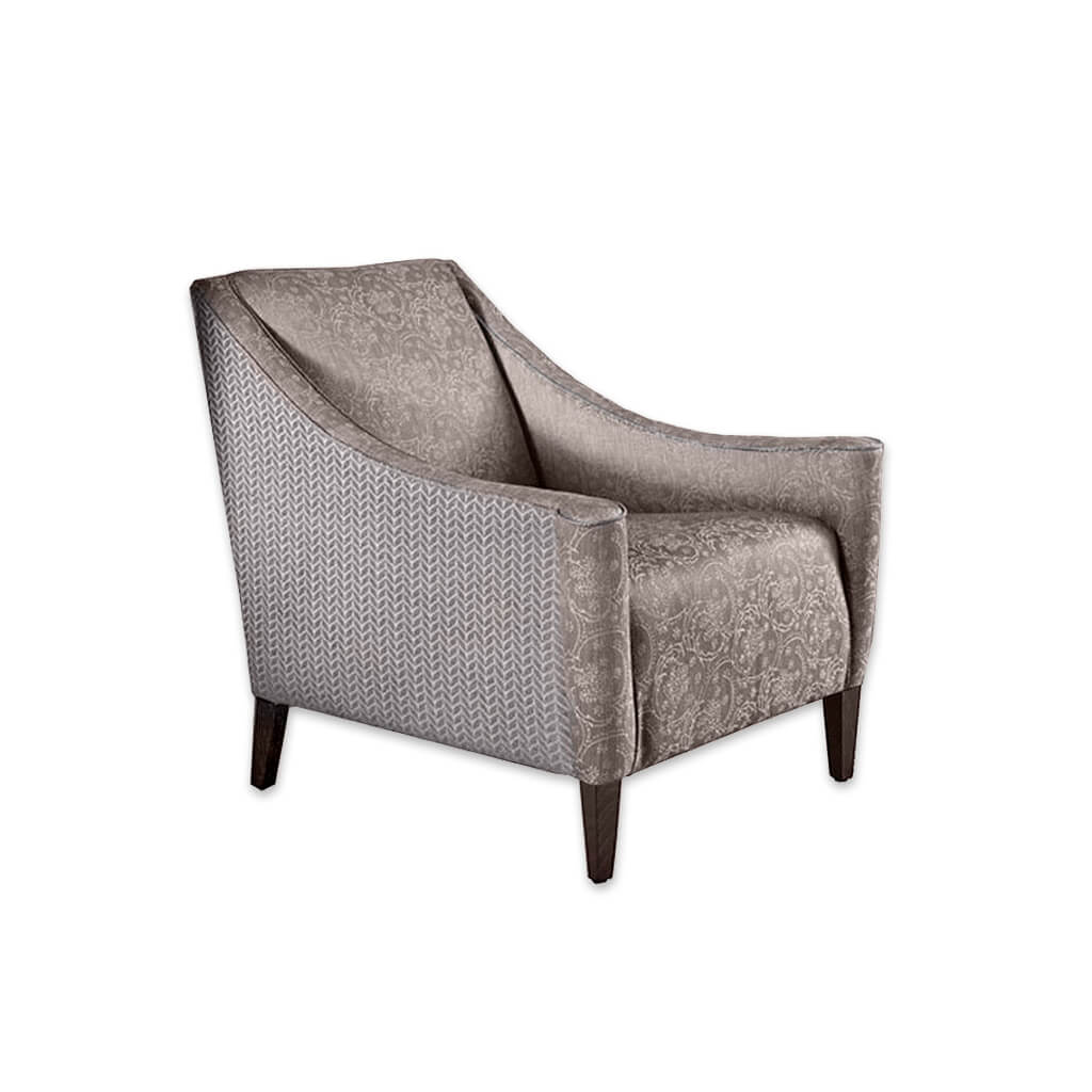 Nelson Fully Upholstered Brown Fabric Lounge Chair with Bolster Cushion and Sweeping Armrests 1048 LC - Designers Image