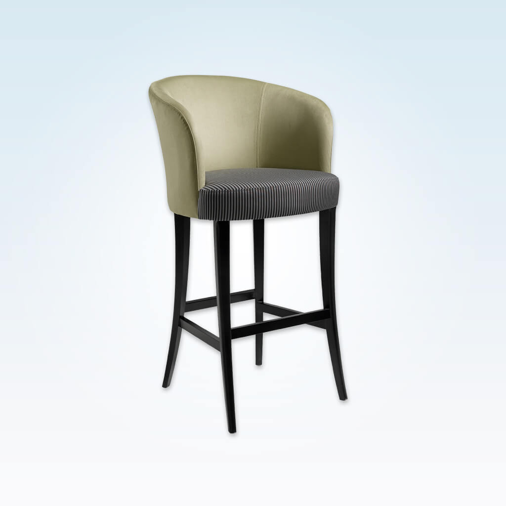 Nerina olive bar stool with high curved backrest and contrast striped cushion 6032 BR1