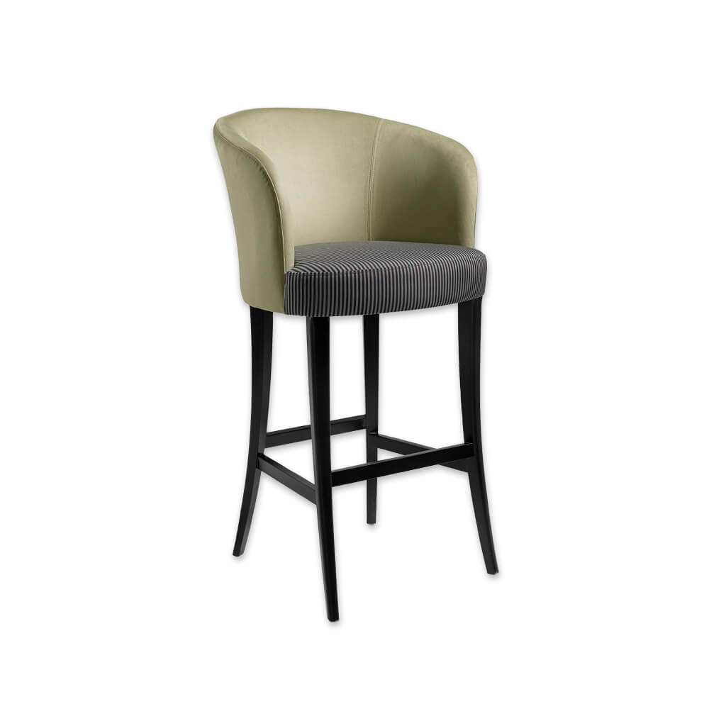 Nerina olive bar stool with high curved backrest and contrast striped cushion 6032 BR1 - Designers Image