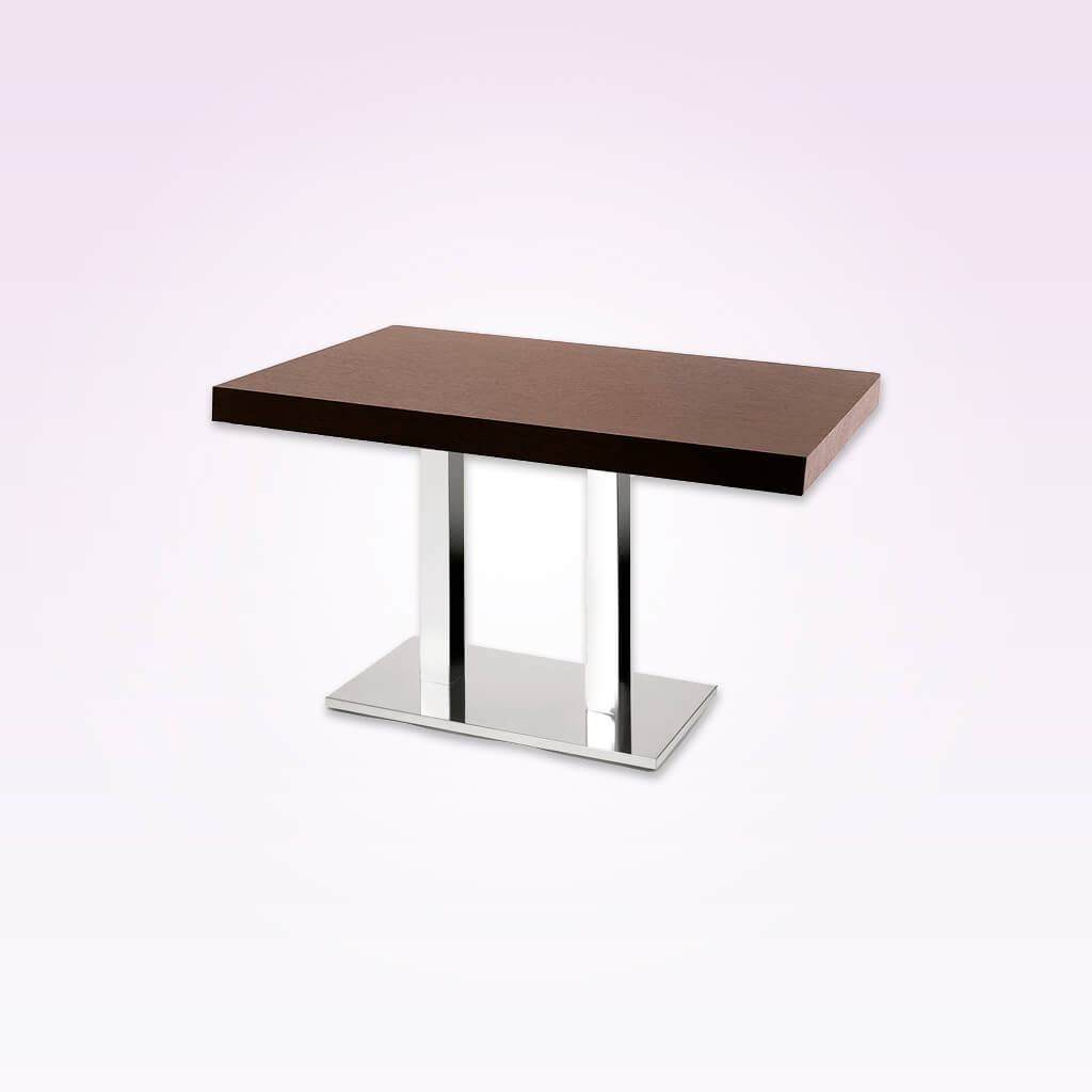 New york wooden bar table with double metal pedestal. 1133