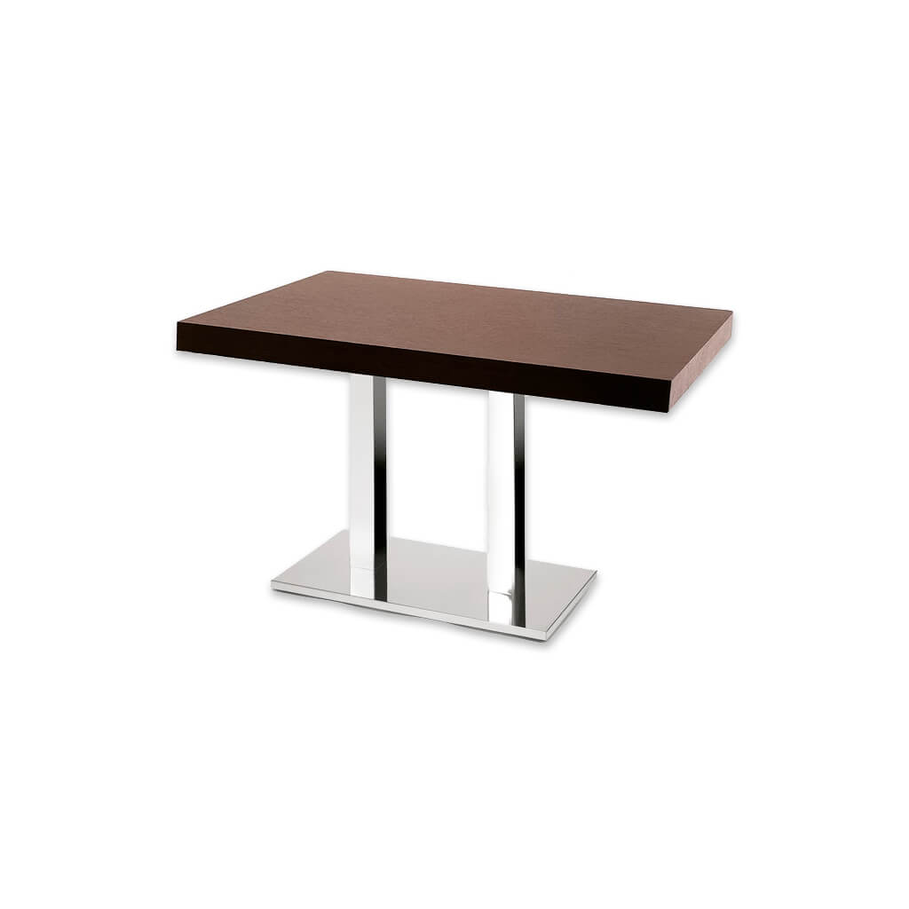 New york wooden bar table with double metal pedestal. 1133 - Designers Image