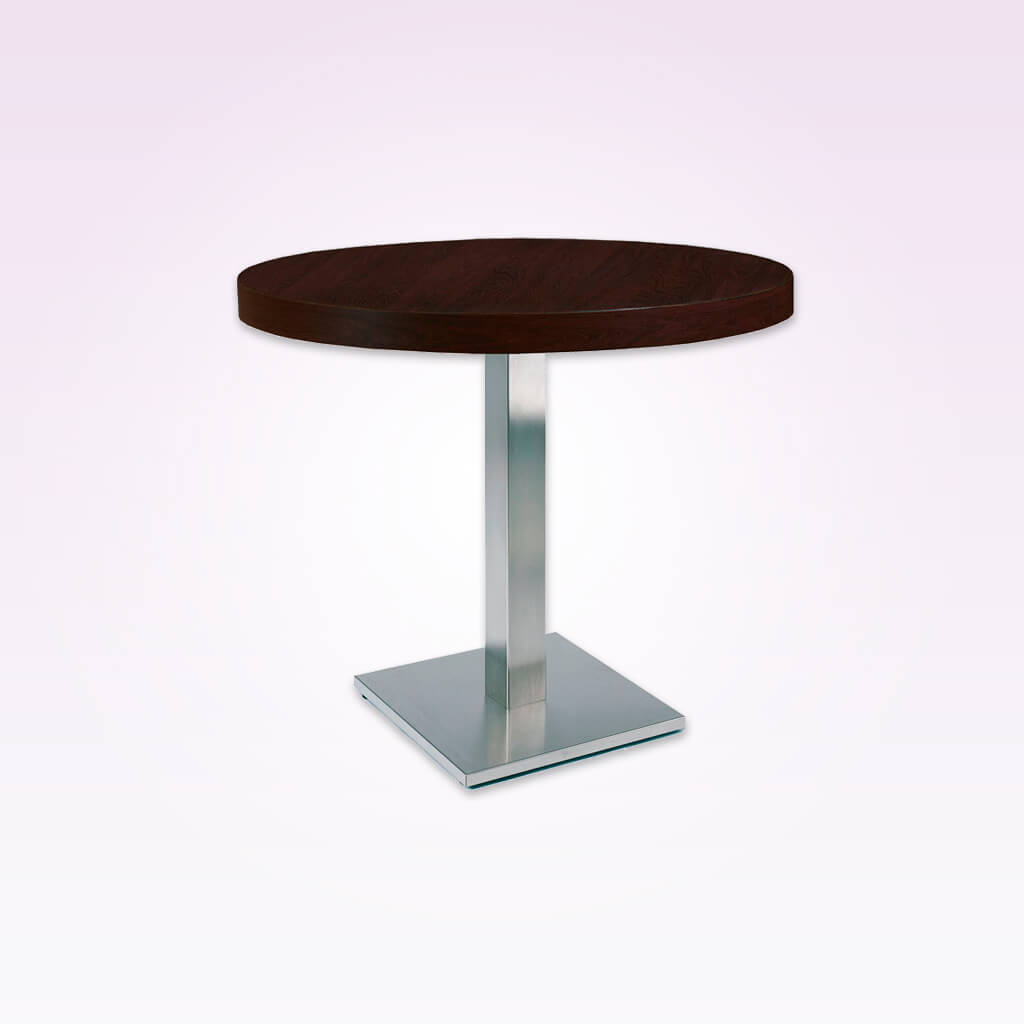 New york circular bar table with round metal base plate and wooden pedestal. 1133
