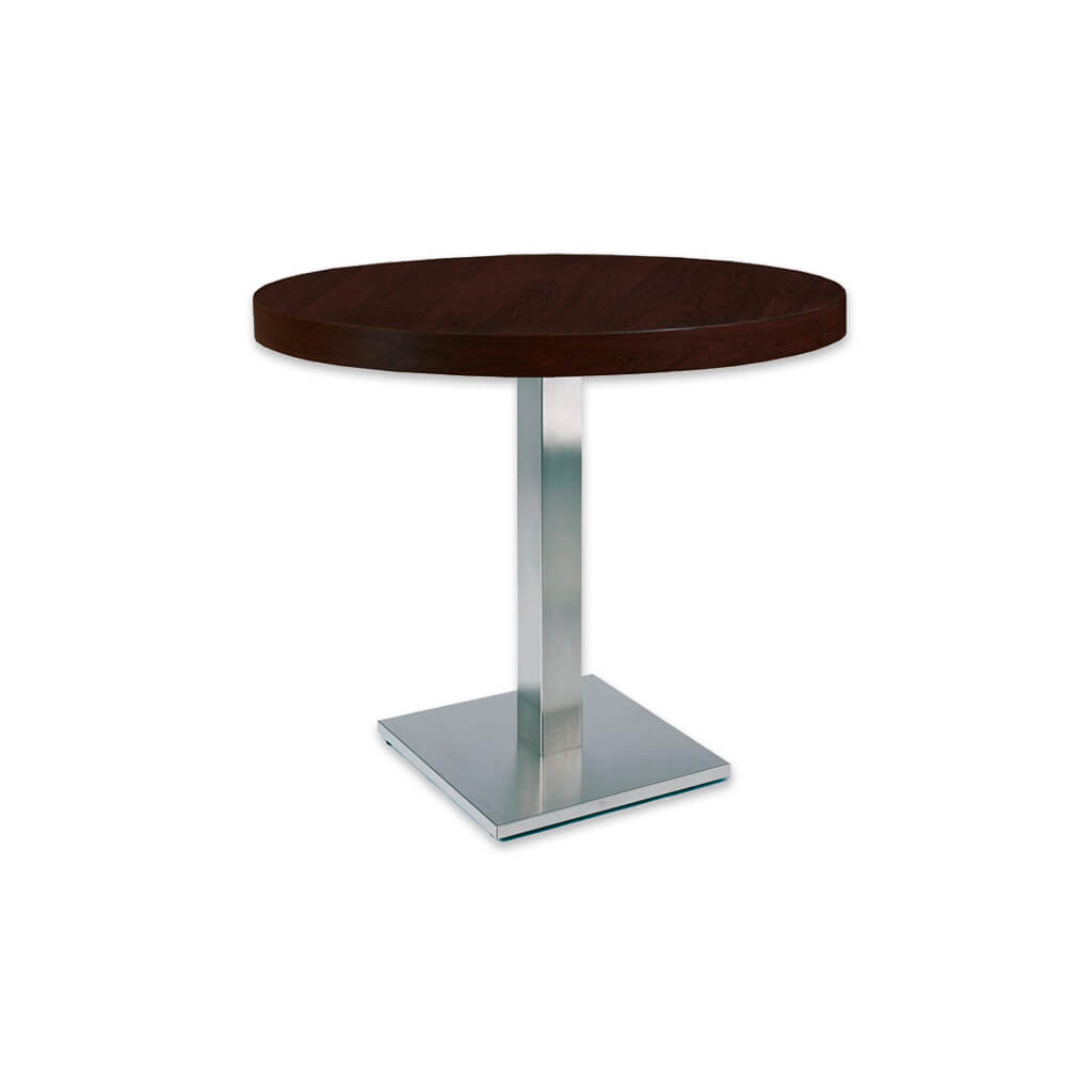 New york circular bar table with round metal base plate and wooden pedestal. 1133 - Designers Image