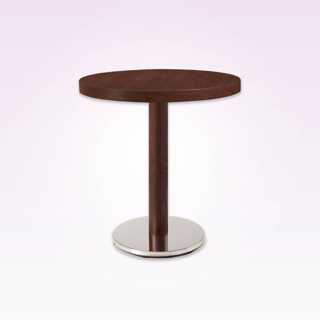 New york wood and metal dining table with round metal base plate and round wooden column. 1133