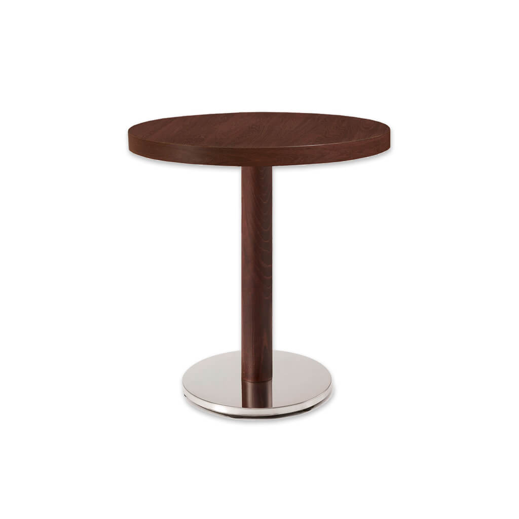 New york wood and metal dining table with round metal base plate and round wooden column. 1133 - Designers Image