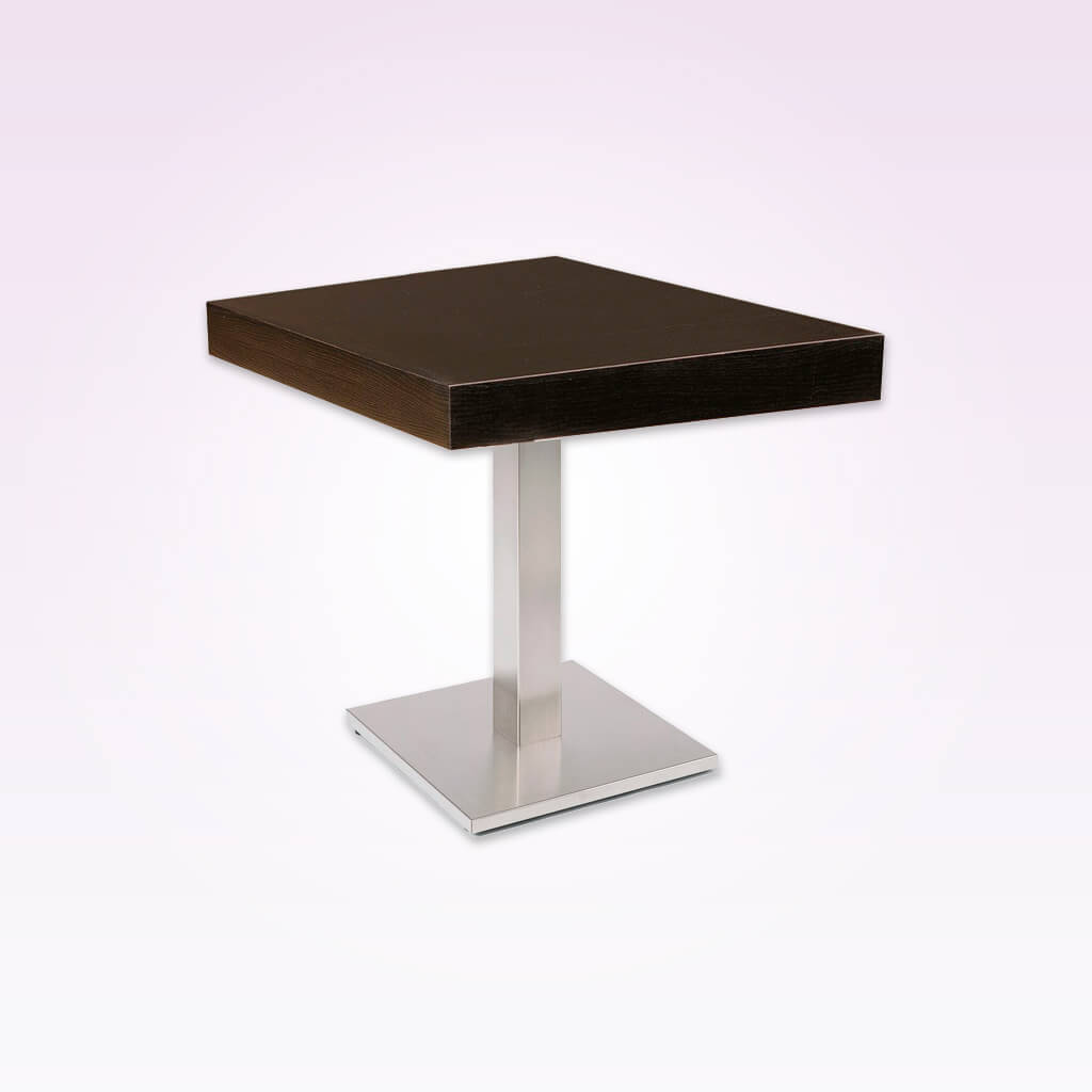 New york dark brown square dining table with square metal pedestal and wooden top. 1133