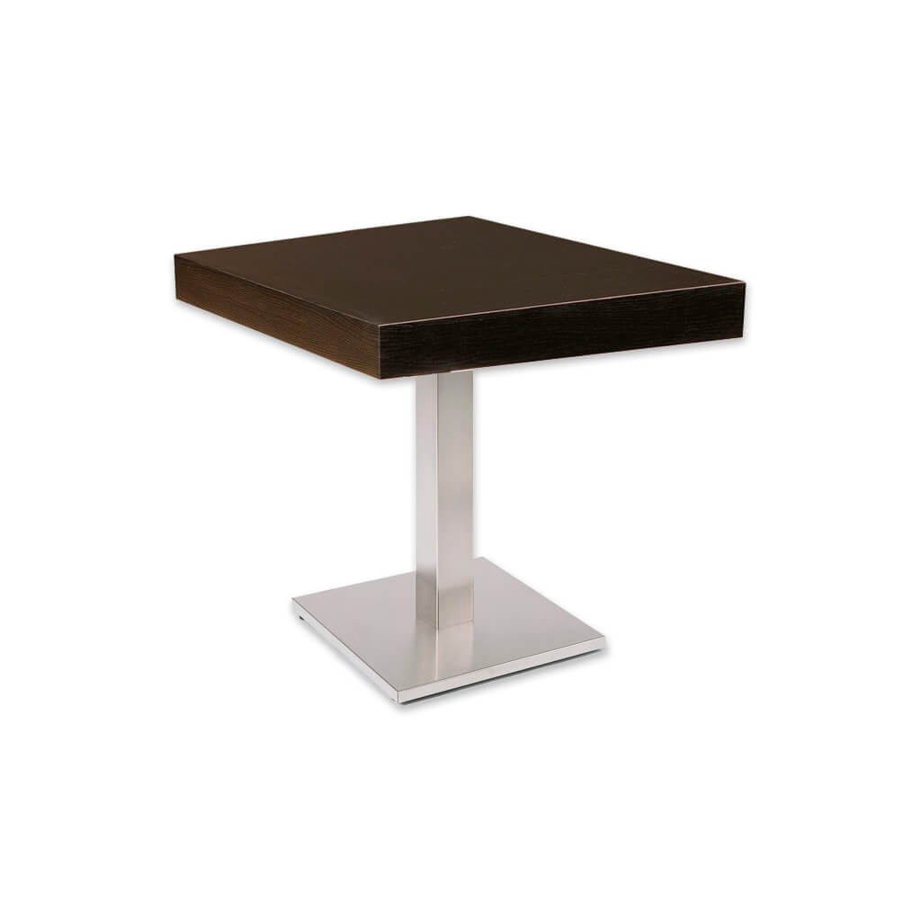 New york dark brown square dining table with square metal pedestal and  wooden top. 1133 - Designers Image