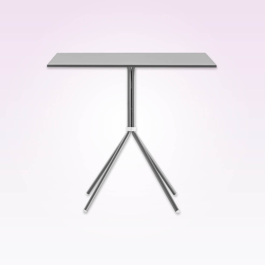 Nolita metallic silver dining table with tubular steel legs and square top. 5454
