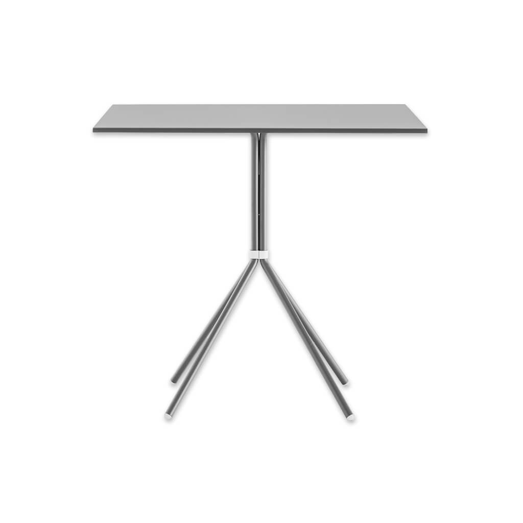 Nolita metallic silver dining table with tubular steel legs and square top. 5454 - Designers Image