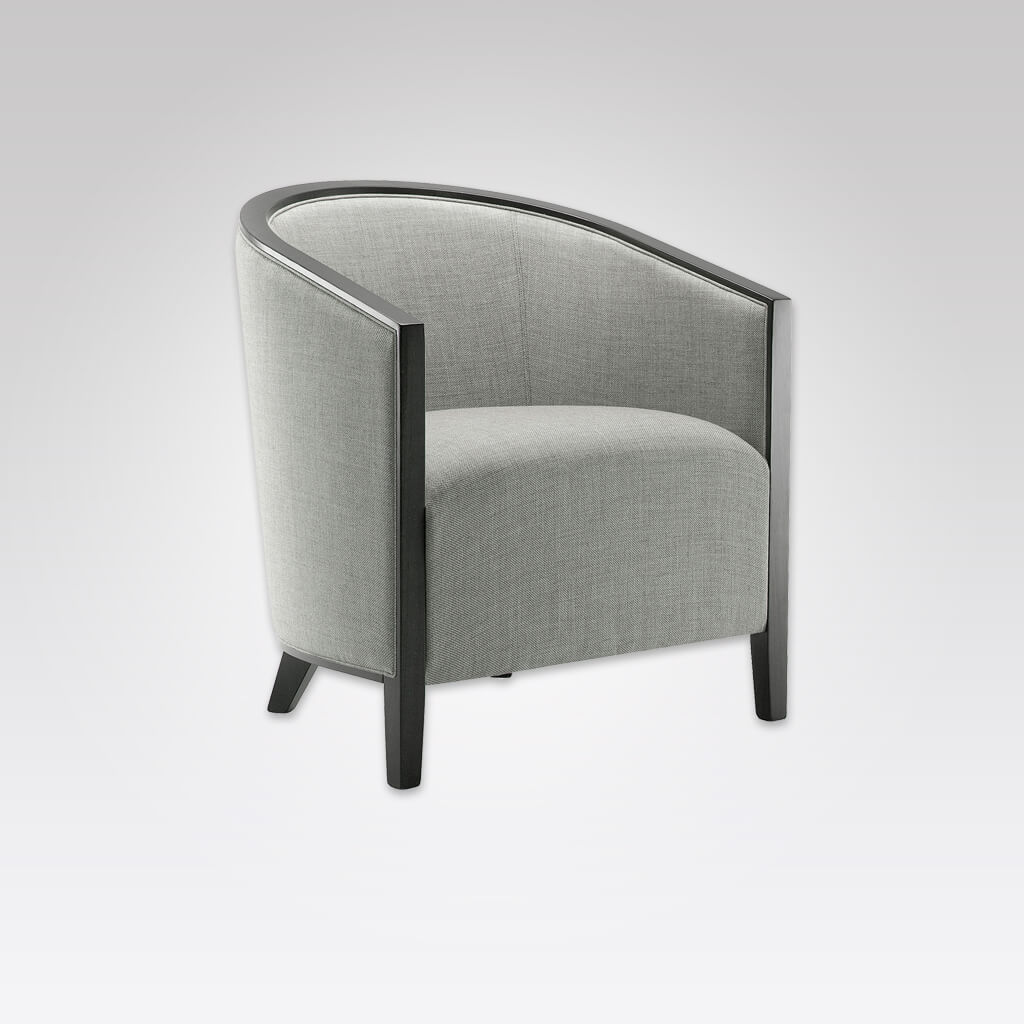 Octavia Curved Back Silver Lounge Chair with Padded Seat and Show Wood Detail 1038 LC1