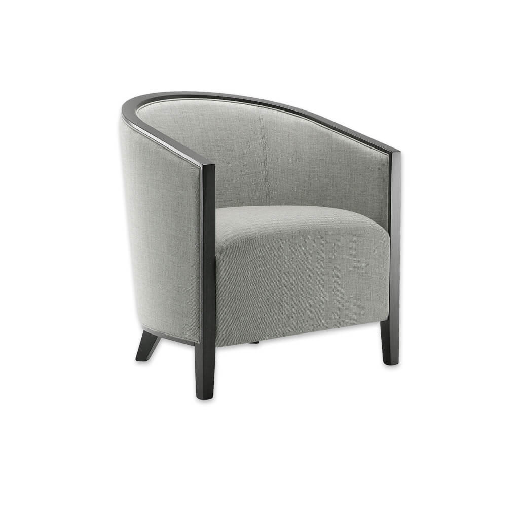 Octavia Curved Back Silver Lounge Chair with Padded Seat and Show Wood Detail 1038 LC1 - Designers Image