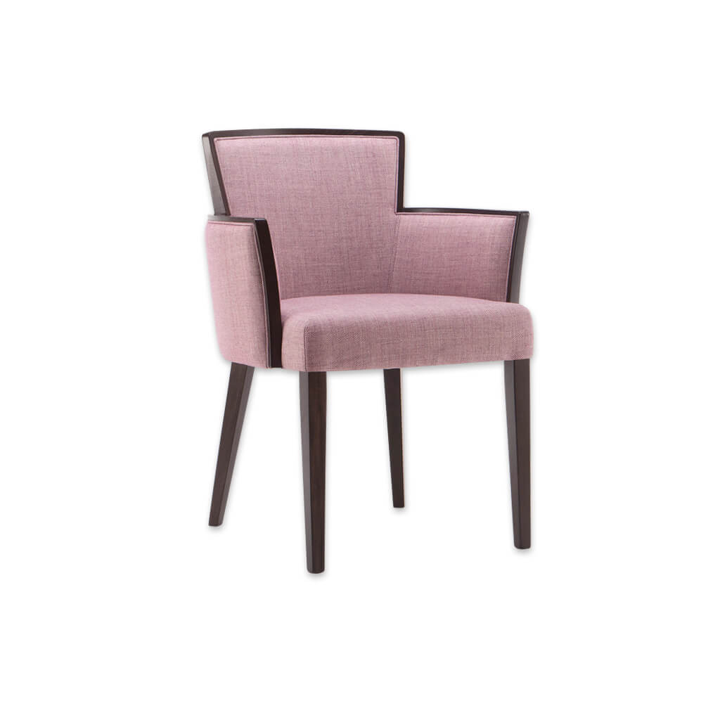 Octavia Pink Tub Chair Angular Show Wood Detailed Arms And Backrest 2037 TC1 - Designers Image