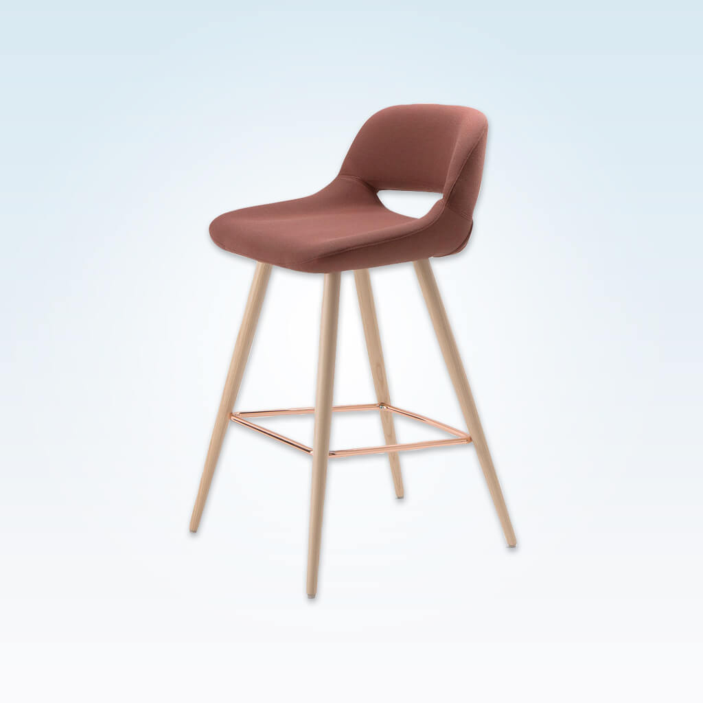 Ola pink bar stool with oversized seat, curved back and wide tapered conical legs with copper kick plate 6029 BR1
