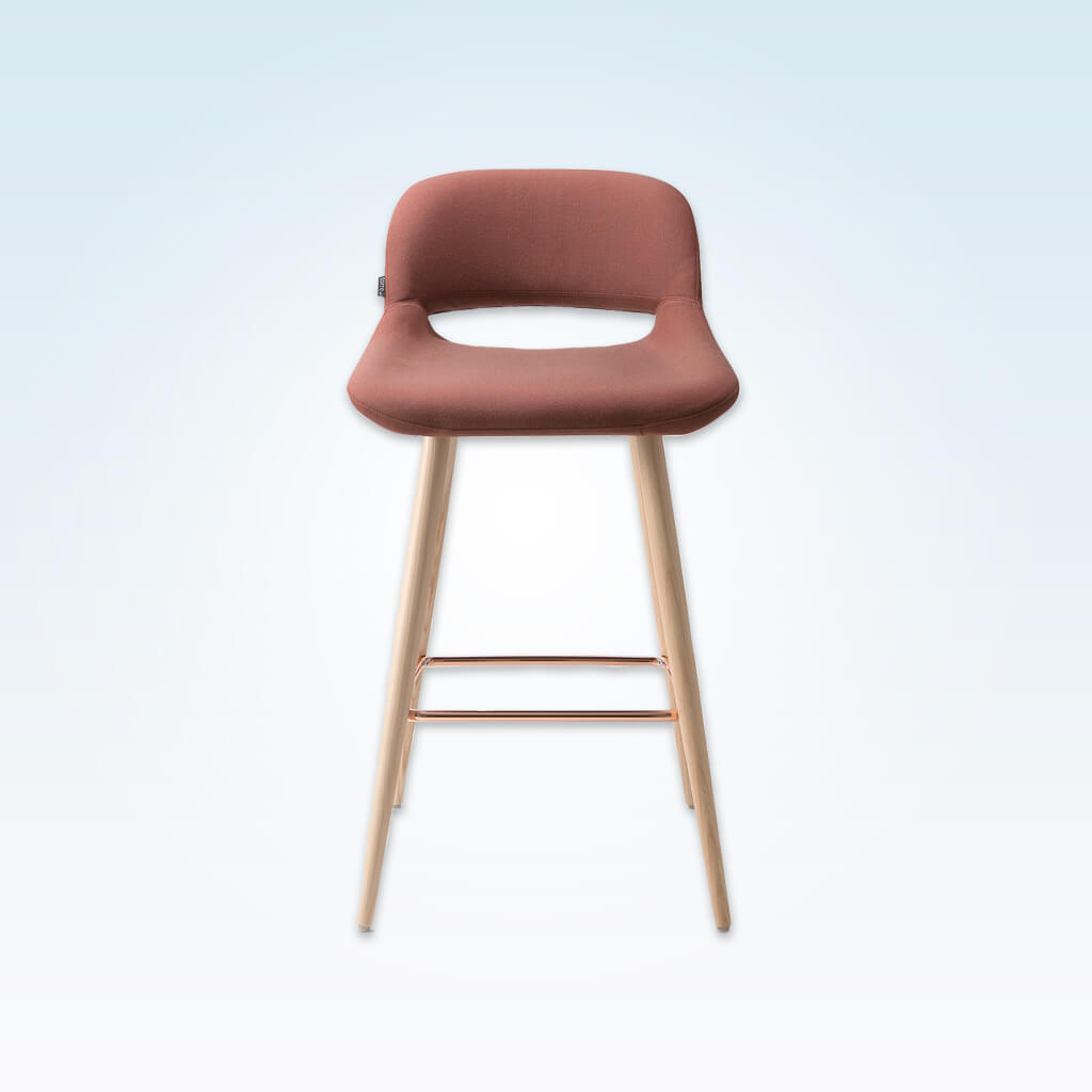 Ola pink bar stool with oversized seat, curved back and wide tapered conical legs with copper kick plate 6029 BR1 - Front