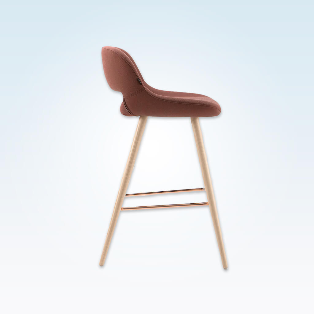 Ola pink bar stool with oversized seat, curved back and wide tapered conical legs with copper kick plate 6029 BR1 - Side