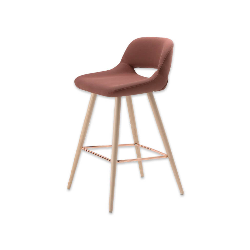 Ola pink bar stool with oversized seat, curved back and wide tapered conical legs with copper kick plate 6029 BR1 - Designers Image
