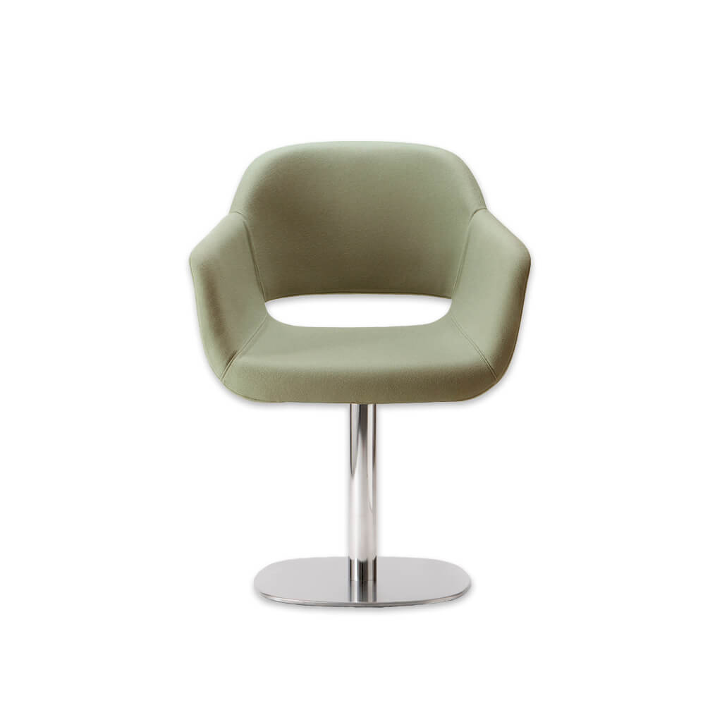 Ola Upholstered Light Green Desk Chair with Padded Seat and Armrests with Round Metal Pedestal Base and Cut Out Detail in Backrest 5010 DC2 - Designers Image