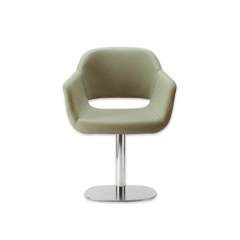 Ola Upholstered Light Green Desk Chair with Padded Seat and Armrests with Round Metal Pedestal Base and Cut Out Detail in Backrest 5010 DC2