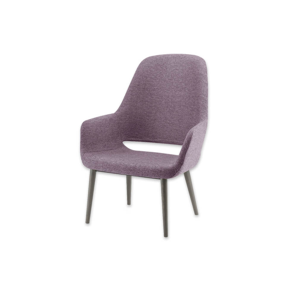 Ola Upholstered Pink Lounge Chair with Wooden Conical Legs and Open Back 1043 LC1 - Designers Image