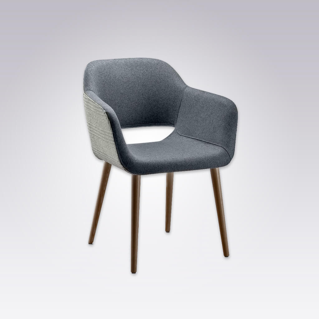 Ola Fully Upholstered Light Blue Armchair with Curved Arms and Cut out Back Detail 4027 AC1
