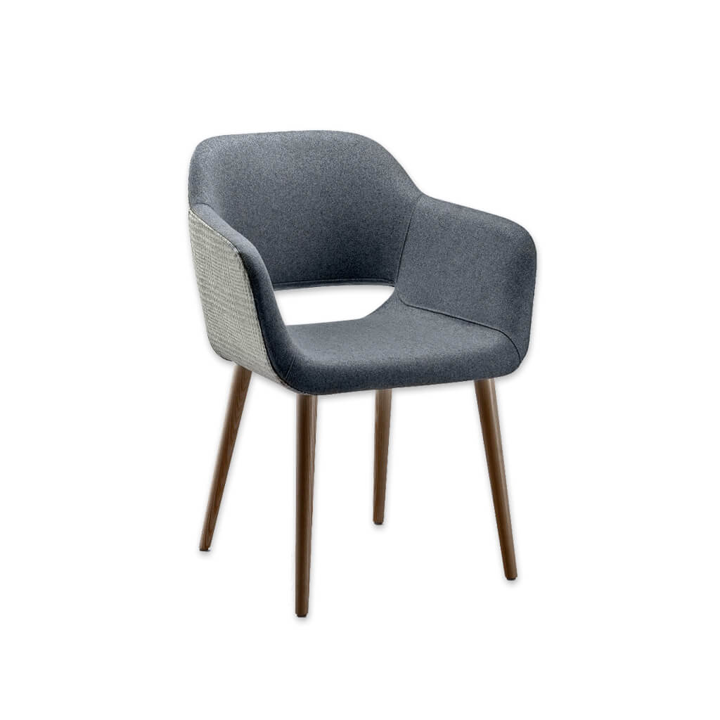 Ola Fully Upholstered Light Blue Armchair with Curved Arms and Cut out Back Detail 4027 AC1 - Designers Image