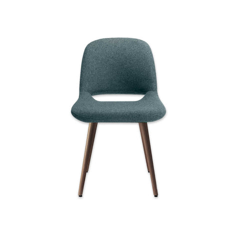 Ola Turquoise Dining Chair with Cut out Lower Back and Timber Legs 3053 RC1