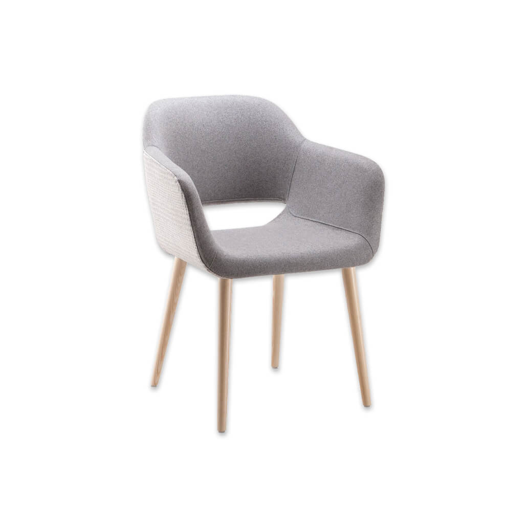 Ola Grey Fabric Tub Chair With Curved Cutout Detail Backrest and Splayed Timber Legs 2039 TC1 - Designers Image