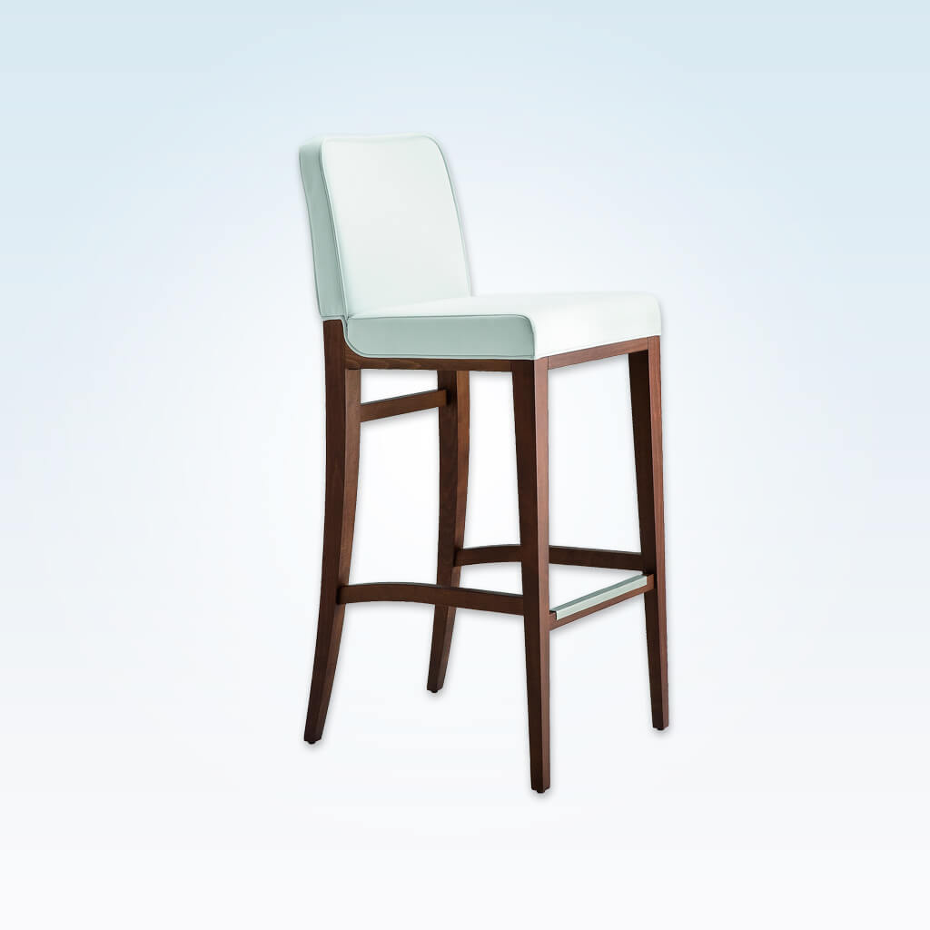 Opera white bar stool with padded backrest and cushion. Timber frame with metal trim to kick plate 6040 BR1